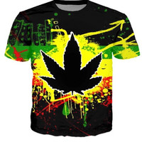 HipHop Men Fashion 3D T-shirts Harajuku Dark Psychedelic WEED LEAF Casual Street