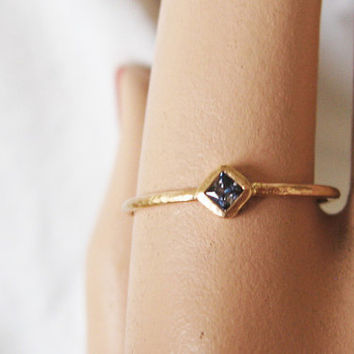 Sapphire ring, tiny gold ring, solid 14k gold, September birthstone, stack ring, delicate gold ring, love ring