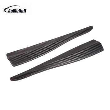 2pcs Universal Car Styling Mouldings Bumper Corner Guard Protector Car Auto Truck Decoration Strip Carbon Fiber Look Black 2size