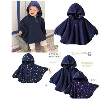 100% New 2017 Fleece Combi Baby Coat Babe Cloak Two-sided Outwear Floral Baby Poncho Cape Infant Baby Coat Children's Clothing