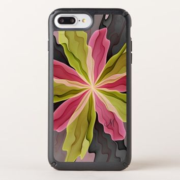Joy, Pink Green Anthracite Flower Fractal Monogram Speck iPhone Case