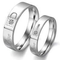 """Titanium Stainless Steel Lock and Key Engagement Anniversary Wedding Promise Ring Couple Wedding Band with Engraved """"Love"""" Rhinestone Inlay, Ladies 7"""