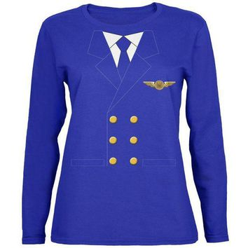 PEAPGQ9 Halloween Airline Airplane Pilot Womens Long Sleeve T Shirt