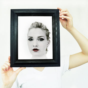 Fine Art Photo - Digital Print Quirky Weird Sexy Portrait of Woman Frame Fashion Home Decor Wall Art 8 x 8