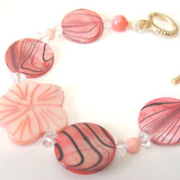Salmon Pink Shell Beaded Bracelet Women Fashion Jewelry  Mother Of Pearl