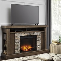 Tamilo collection casual style honey brushed distressed finish wood tv stand fireplace