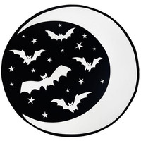 Crescent Moon & Bats Round Oversized Beach Towel by Rat Baby / Too Fast Clothing