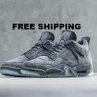 "【FREE SHIPPING】AIR JORDAN 4 (COOL GREY ""KAWS"") Men's BASKETBALL SHOES STYLE CODE: 930155-003"