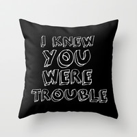 Trouble Throw Pillow by Monika Strigel