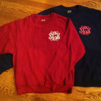 Monogrammed Crew Neck Sweatshirts by MeauxsMonogram on Etsy