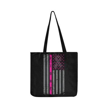 Vintage USA Flag Fight V2 Breast Cancer Awareness Pink Ribbon Reusable/Water Resistant Shopping Bags (8 colors)