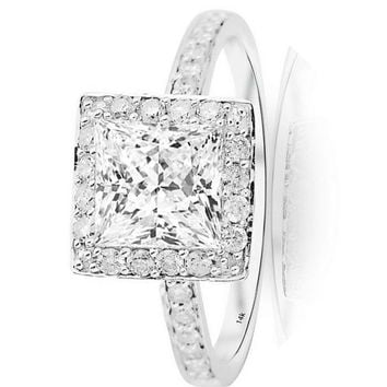 .2.5 Ctw 14K White Gold GIA Certified Princess Cut Classic Halo Style Pave Set Princess Cut Diamond Engagement Ring, 2 Ct I-J VS1-VS2 Center