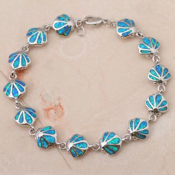 STYLEDOME Blue fire Opal  silver Fashion Jewelry Bracelets