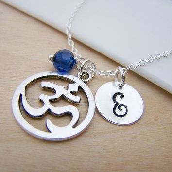 Om Charm Swarovski Birthstone Initial Personalized Sterling Silver Necklace / Gift for Her