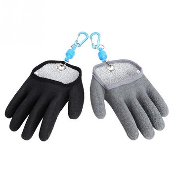 Anti-Silp Full Fingers Fishing Gloves Left Right Hand Fishing Hunting Glove Catch Fish with Lanyard Carabiner Fishing Accessory