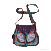 Expandable Patchwork Messenger Bag