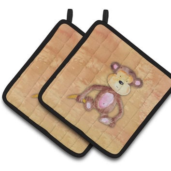 Monkey Watercolor Pair of Pot Holders BB7380PTHD