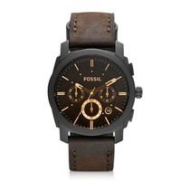 Fossil Designer Men's Watches Machine Mid-Size Chronograph Brown Leather Men's Watch
