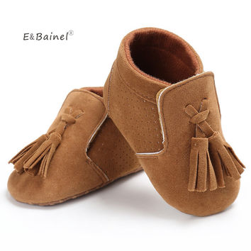 E&Bainel Baby Shoes Baby Soft PU Leather Tassel Moccasins Girls Mocassin Booties First Walkers
