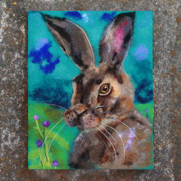 Wool Painting, Needle Felted Art, Felt Painting, Hare Art, Hare Painting, Hare Portrait, Whimsical Art, Fiber Art, Textile, Nursery Decor