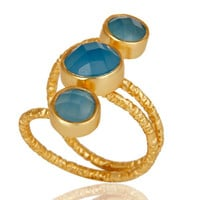 Chalcedony 925 Sterling Silver Prong Set Joint Ring with 18k Gold Plated