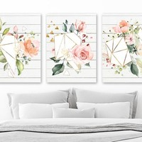 WATERCOLOR Flower Wall Art, Watercolor Boho Shape Bedroom Art Pictures, Floral Geometric Watercolor Wall Decor, Set of 3 Canvas or Print