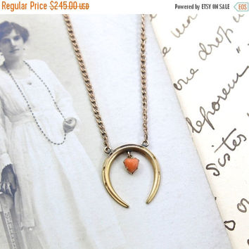 Victorian Horseshoe & Coral Heart Pendant, Antique 14k Rose Gold Good Luck Charm, Moon Symbol, Rustic Love Token Talisman Necklace