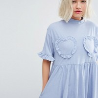 Lazy Oaf Oversized T-Shirt Dress With Frilly Hearts at asos.com