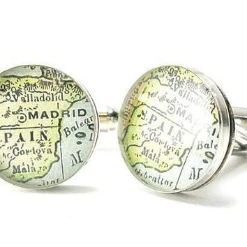 Madrid Spain Antique Map Cufflinks