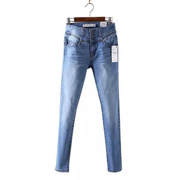 Stylish High Rise Denim Pants [5013203332]