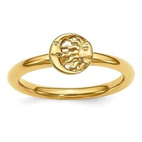 Sterling Silver Stackable Expressions Gold Plated Sun and Moon Ring