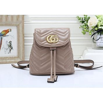 Gucci Popular Women Leather Bookbag Backpack Daypack Bag Apricot