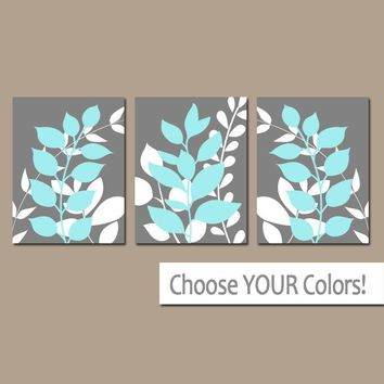Gray Blue Wall Art, Bedroom Pictures, Leaves CANVAS or Prints Leaf Aqua Bathroom Decor, Foliage Pictures, Flower Art, Set of 3 Home Decor