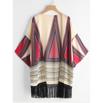 Women's Multicolor Geometric Print Fringe Hem Kimono Swimsuit Cover Up