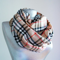 Handmade Plaid Infinity Scarf - Cotton - Beige Black Fuchsia - 4 Season Scarf
