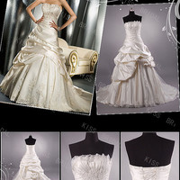 Gorgeous A-line strapless sleeveless floor-length taffeta pleated tulle with appliques Bridal Wedding Dresses