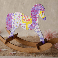 Wooden toy horse on wheels light small handmade eco friendly present for baby
