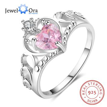 Crown Shape 925 Sterling Silver Ring With Heart Cubic Zirconia Engagement Rings For Women Jewelry Gift Ideas (JewelOra RI103258)
