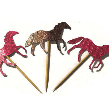 12 Horse Cupcake Toppers - Pink and Brown Glitter - Kids Birthday Party Decorations