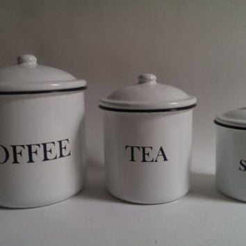 White Enamel Nesting Canisters for Coffee, Tea, and Sugar