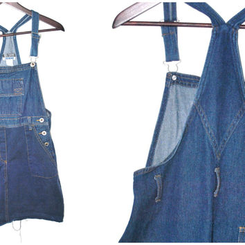 vintage 90s two tone denim overall jean dress
