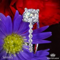 18k White Gold Simon G MR2173-D Delicate Diamond Engagement Ring