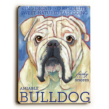 Bulldog by Artist Ursula Dodge Wood Sign