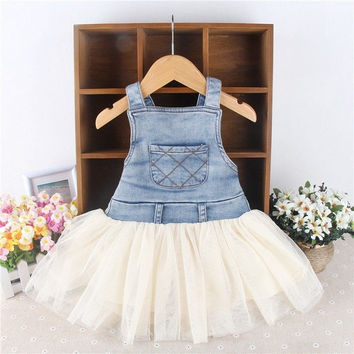 2014 Retro Kids Baby Girls Clothes Summers Denim Tulle Dress 6M-4Y Outfits = 1930026500