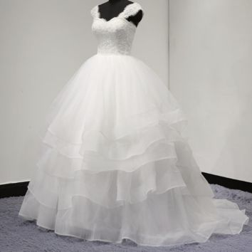 Tiered Layer Ball Gown Wedding Dress Lace Corset