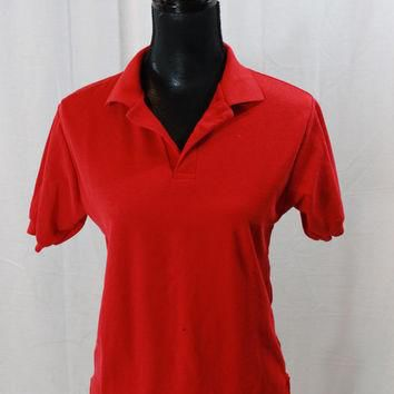 80s Mens Le Tigre polo shirt Red Polo SHirt