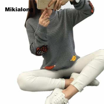 Mikialong Loose Pullover Sweater Women Casual Long Sleeve Cattoon Owl Embroidery Female Sweater 2017 Autumn Winter Warm Jumper