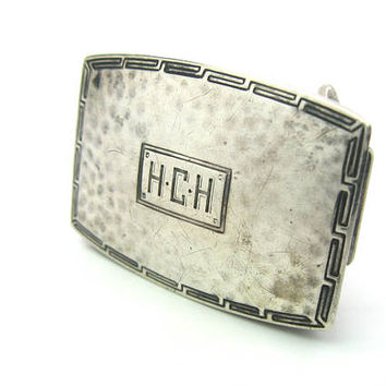 Art Deco Belt Buckle Hammered Sterling Silver Narrow Block Monogrammed HCH Engraved Greek Key Border Watrous International Vintage 1920s
