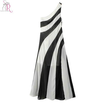 Black White Monochrome Stripe One Shoulder Cut Out Maxi Dress Party Sexy A Line Sleeveless Skater Dresses 2016 Summer Women