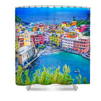 Italy Cinque Terre Vernazza Polyester Fabric Shower Curtain